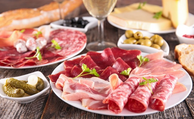meat,cheese and wine